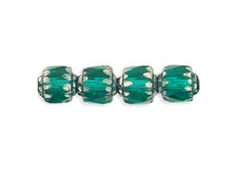 Czech Glass Beads - Cathedral Beads - Antique Style Octagonal Beads - Emerald Green with Silver - 6mm - 10 or 25 Beads