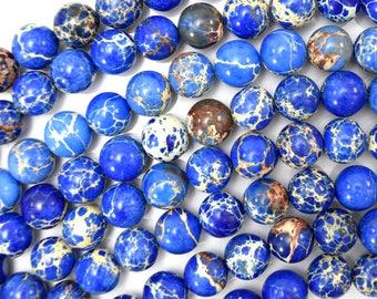 "12mm sapphire blue sea sediment jasper round beads 15.5"" strand 38429"