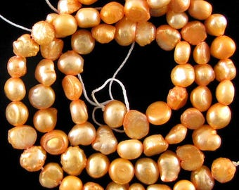 "7mm orange freshwater pearl nugget beads 15"" strand fwp 16925"