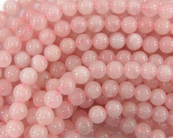 "8mm rose quartz round beads 15"" strand 33532"