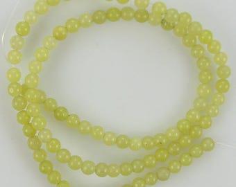"""4mm lemon jade round beads 15.5"""" strand 8297"""