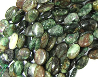 """10x14mm ruby zoisite flat oval beads 16"""" strand 32025"""