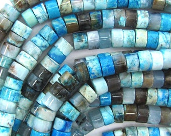 "8mm blue crazy lace agate heishi beads 15.5"" strand 33491"