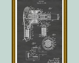 Hair dryer blueprint etsy hair dryer poster hair dryer patent hair dryer print bathroom wall decor malvernweather Image collections