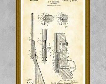 Browning Rifle Patent Print, Winchester Rifle Poster, Gun Patent Art, Winchester Repeater, Gun Collector Gift, Firearm Decor, Gun Art P395