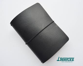 A6 Traveler's notebook black crackle leather - midori like- fauxdori