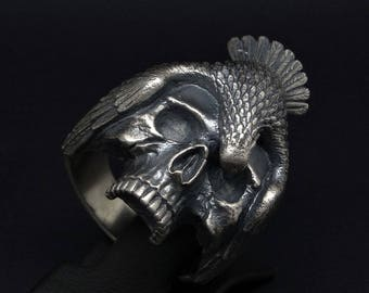 """Handcrafted Sterling Silver 925 Human Skull and Raven Bird """"Memento Mori"""" Gothic Biker Ring"""