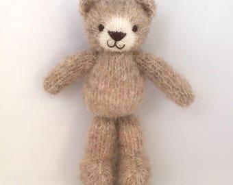 Knitted alpaca silk teddybear, knitted toy, baby toy, newborn photo props.