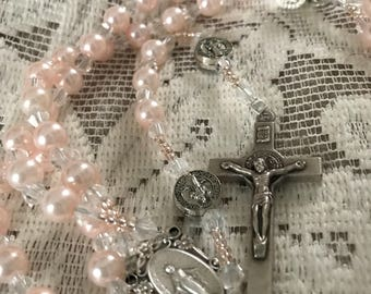 Dainty Pink Pearl St. Benedict Rosary