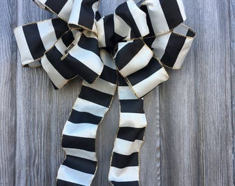 Wreath Bow, Decorative Bow, Large Gift Bow, Wired Ribbon Bow, door hanger, black and white stripe, holiday decor, Halloween