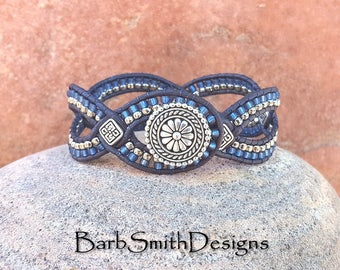 Blue Denim Silver Beaded Leather Cuff Wrap Bracelet - D'Vine One in Indigo - Customize It!