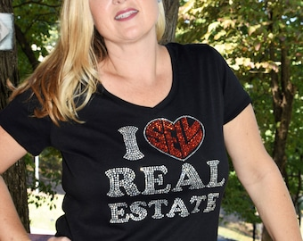 Real Estate Realtor I sell Real Estate  rhinestone  bling  shirt,  all sizes XS, S, M, L, XL, XXL, 1X, 2X, 3X, 4X, 5X bold font
