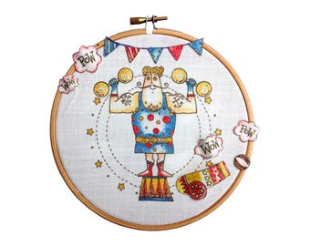 Embroidery painting pattern. Strong Man