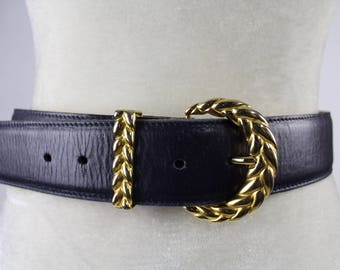 80's Navy Leather and Gold Belt