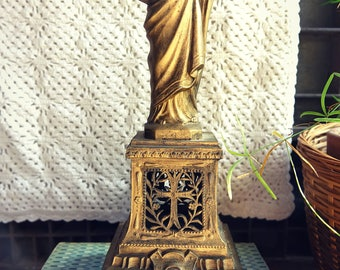 "Religious statue of Christ - Statue figurine antique painted metal - ""Heart of Jesus"""