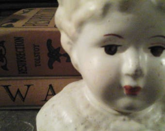 Three Antique Painted Doll heads blonde and brunette vintage porcelain doll composition blue eyed brown eyed doll face