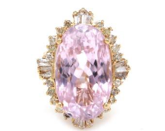 14k Gold Kunzite and Diamond Ring.