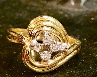 14k Gold diamond knot ring