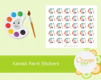 Paint Stickers, Kawaii Paint Stickers, Art Stickers, Craft Stickers, Art Class Stickers, Planner Stickers