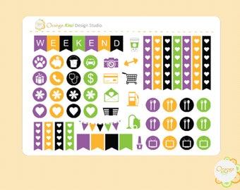 Halloween Mini Kit, Halloween Weekly Kit Stickers, Halloween Sampler, Erin Condren Life Planner