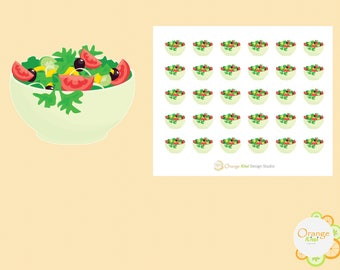 Salad Stickers, Healthy Eating, Planner Stickers