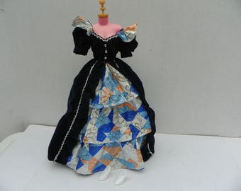 Vintage Barbie Navy Velveteen Ball Gown , Barbie Clothing , Fashion Doll Clothes , Barbie Dress , Barbie Doll Outfit , Barbie Gown , Dress