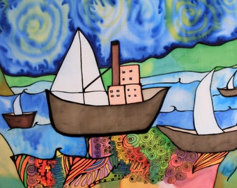 Ships - painting on silk by Ausra Dajore