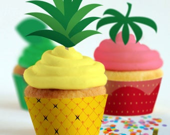 Cupcake Wrappers + Toppers // Tutti Frutti Party Theme // Downloadable + Printable