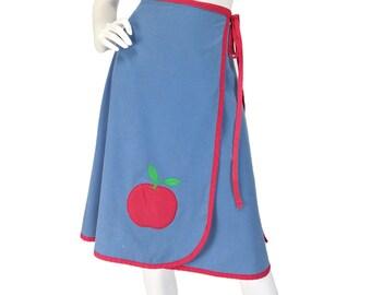 Vintage Clothing, 70s Skirt S M, Wrap Skirt, Kitsch Skirt, Kawaii Skirt, Periwinkle Blue, Apple Skirt, Harajuku Skirt, Knee Length, SIZE S M