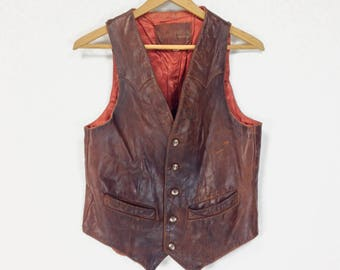 Vintage Clothing, 70s Leather Vest XS S, Brown Leather Vest, Beat Up Leather Vest, Distressed, Western, Americana, Western Wear, SIZE XS S
