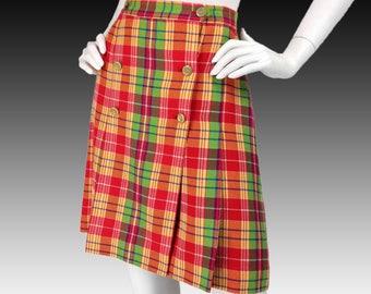 Vintage Clothing, 70s Style Plaid Skirt L, 90s Wool Skirt, Red Yellow Green, Plaid Kilt, Mod Skirt, Preppy Skirt, Schoolgirl Skirt, SIZE L