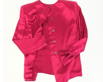 Designer Blouse S M, Galanos Blouse, Red Satin Blouse, James Galanos, Tailored Blouse, Button Down Back Blouse, Cranberry Red, SIZE S M 6 8