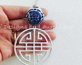 SILVER Chinoiserie Necklace | blue and white, long, statement necklace, adjustable