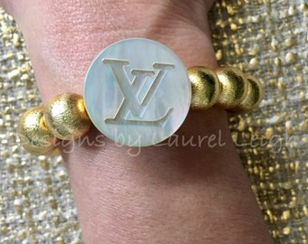 GOLD and PEARL LV Beaded Bracelet | designer, mother of pearl, stretchy, Designs by Laurel Leigh