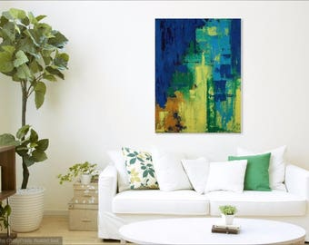 Abstract 21 John Hoyland-esque painting blue green yellow wall art