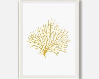 Gold Coral Art, Nautical Prints, Gold decor, Sea Life Decor, Marine Life Art, Sea coral Wall Art, Gold Watercolor Art, Coastal Printable