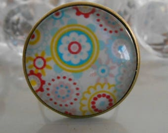 "Ring bronze ""Indian flowers"" glass cabochon"