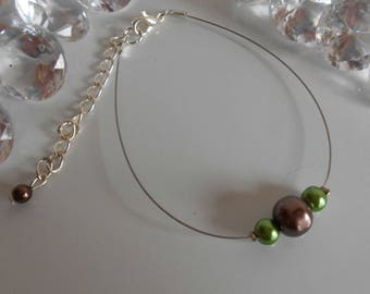 Simplicity wedding green and Brown bracelet