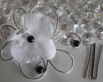 Black Pearl Orchid wedding fascinator