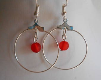 Mini hoops with red beaded heart