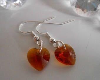 Orange heart earrings