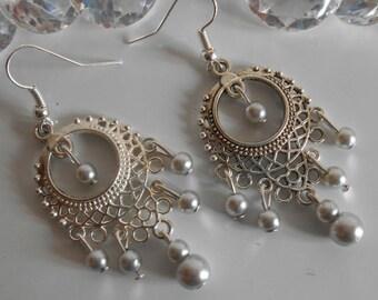 Gypsy dangle earrings gray pearls