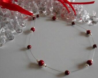 Simple and elegant wedding headband Burgundy and white pearls