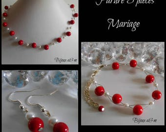 Set of 3 wedding pieces twist passion red and white beads