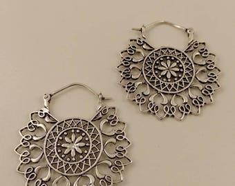 Mandala earings Silver Plated