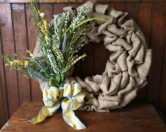Summer Burlap Wreath- Repurposed Coffee Bean Bag