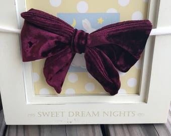Baby girl hair accessories / headband velvet photo prop/ birthday baby shower gift idea