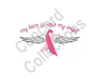 Pink Ribbon - Machine Embroidery Design, Breast Cancer Awareness - Machine Embroidery Design, Angel - Machine Embroidery Design