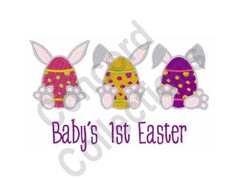Baby's 1st Easter - Machine Embroidery Design, Easter Bunny Eggs