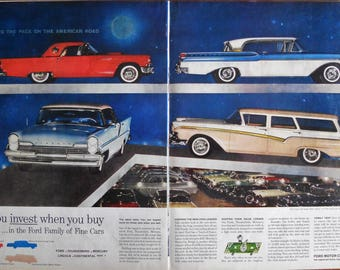 1957 Ford Motor Company ad. 1957 Ford models. 1957 Thunderbird. 1957 Mercury Cruiser & Ford model a | Etsy markmcfarlin.com